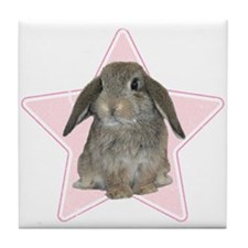Baby bunny (pink) Tile Coaster