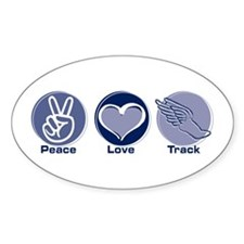 Peace Love Track Oval Decal