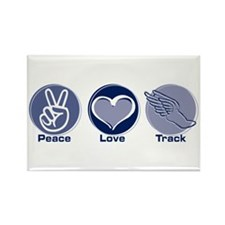 Peace Love Track Rectangle Magnet