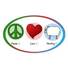 Peace Love Herding Oval Decal