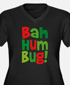 Bah Humbug Women's Plus Size V-Neck Dark T-Shirt