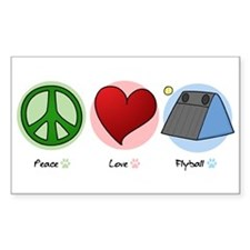 Peace Love Flyball Rectangle Decal