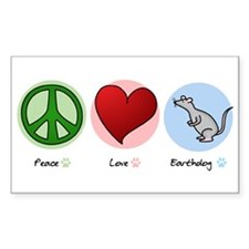 Peace Love Earthdog Rectangle Decal
