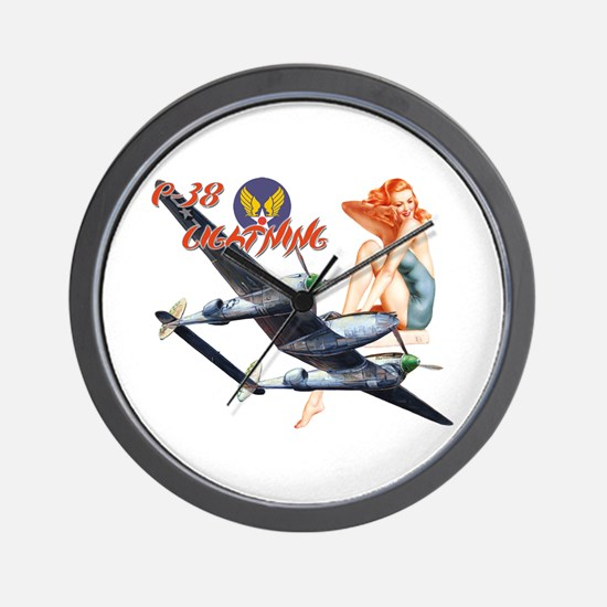 WWII P-38 Lightning Wall Clock