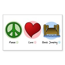 Peace Love Dock Jumping Rectangle Decal