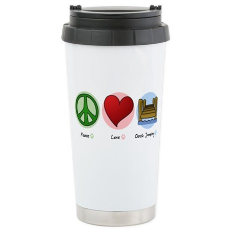 Peace Love Dock Jumping Stainless Steel Travel Mug