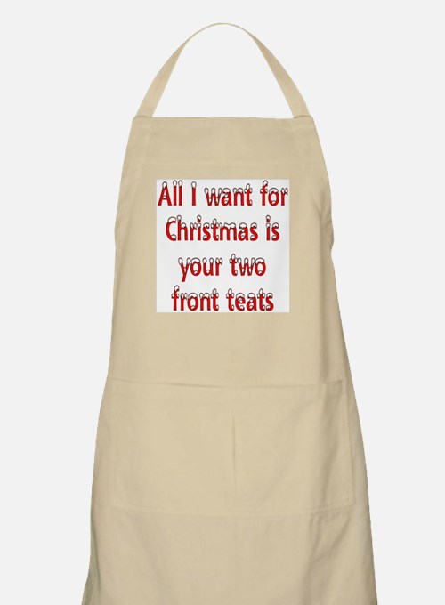 Christmas two front teats BBQ Apron