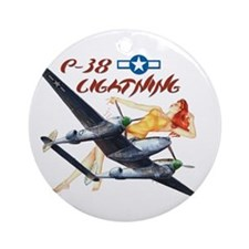 WWII P-38 Lightning Ornament (Round)