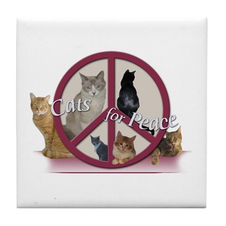 Cats for Peace Tile Coaster