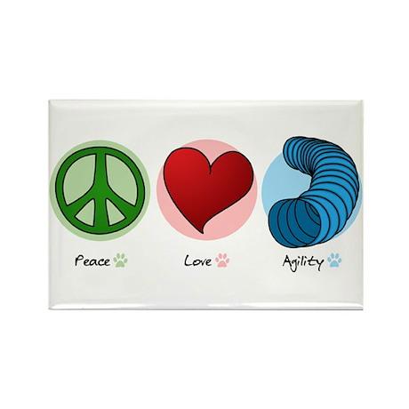 Peace Love Agility Rectangle Magnet