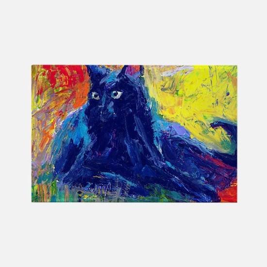 Black Cat 6 Rectangle Magnet