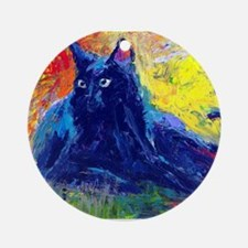 Black Cat 6 Ornament (Round)