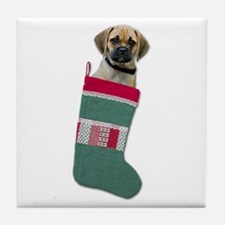 Puggle Christmas Tile Coaster