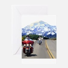 Motorcycles on tour in the mo Greeting Card