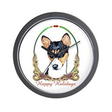 Basenji Dog Happy Holidays Wall Clock