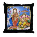 Ganesha and Gaja Lakshmi Throw Pillow