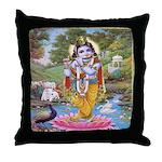 Krishna on Lotus Throw Pillow