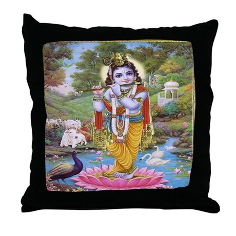 Krishna on Lotus Throw Pillow