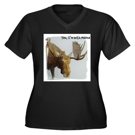 Yes, I'm with Moose Women's Plus Size V-Neck Dark