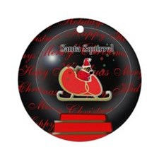 Santa Squirrel Snow Globe Ornament (Round)