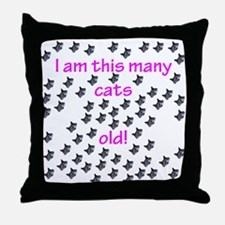 65 Cats Old! Throw Pillow