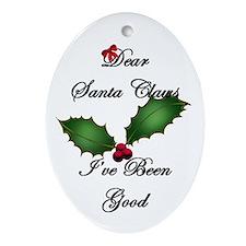 Santa Claws I've Been Good Oval Ornament