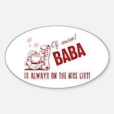 Nice List Baba Oval Decal