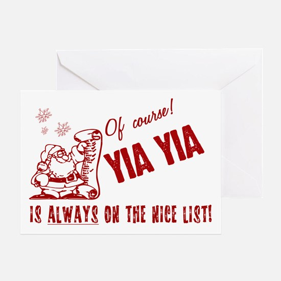 Nice List Yia Yia Greeting Card