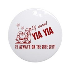 Nice List Yia Yia Ornament (Round)