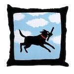 Playful Black Lab Throw Pillow