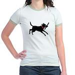 Playful Black Lab Jr. Ringer T-Shirt