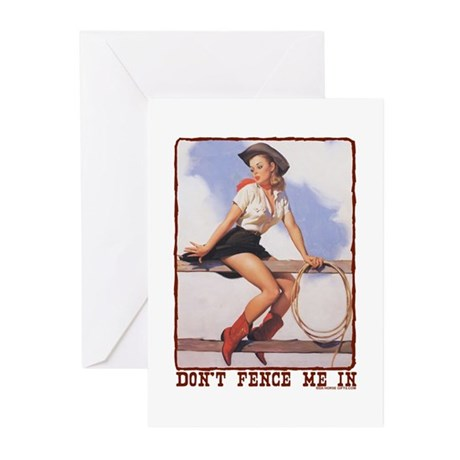 Cowgirl Don't Fence Me In Greeting Cards (Pk of 10