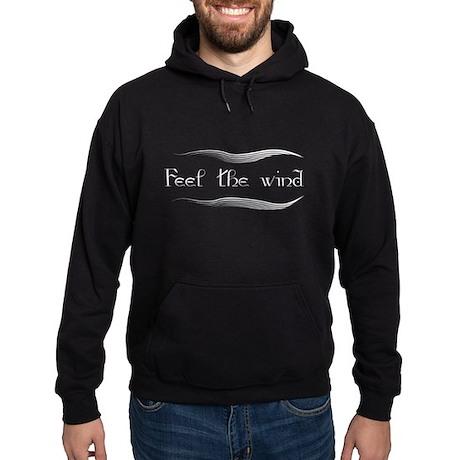 Feel The Wind in White Hoodie (dark)