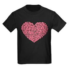Pink Heart of Skulls T