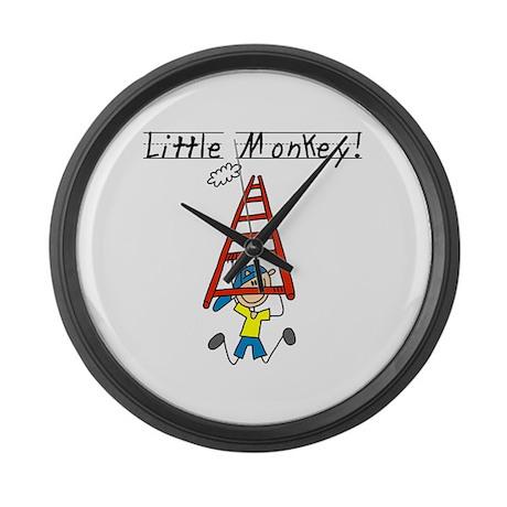 Stick Figure Little Monkey Large Wall Clock