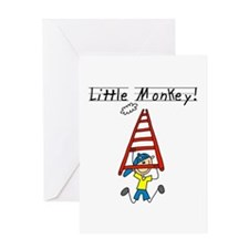Stick Figure Little Monkey Greeting Card