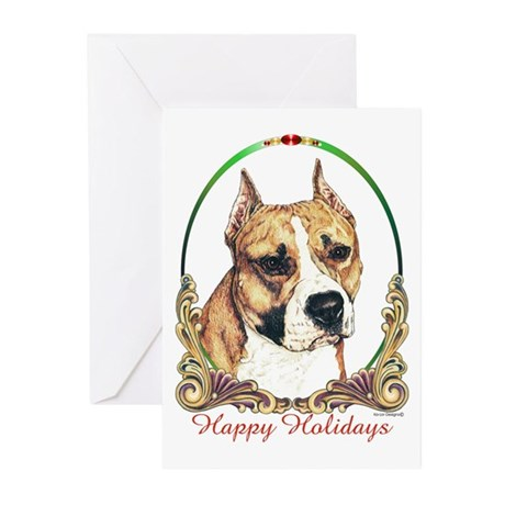 Am Staff Dog Holiday Greeting Cards (Pk of 10)