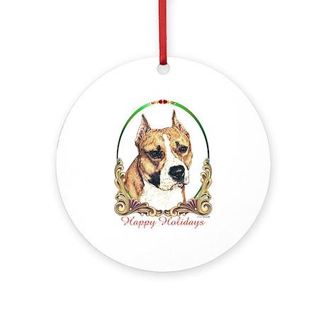 Am Staff Dog Breed Happy Holidays Ornament (Round)