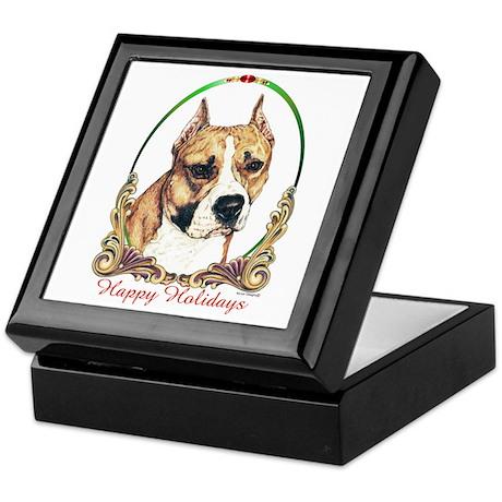 Am Staff Terrier Happy Holidays Keepsake Box