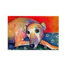 Greyhound dog 2 Rectangle Magnet