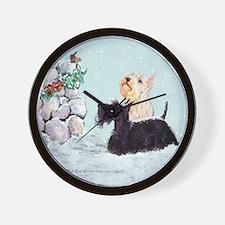 Scotties and Wren Winter Wall Clock