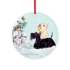 Scotties and Wren Winter Ornament (Round)