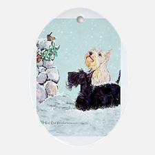 Scotties and Wren Winter Ornament (Oval)