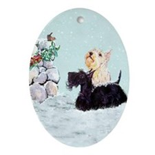 Scotties and Wren Winter Ornament (Oval)