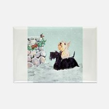 Scotties and Wren Winter Rectangle Magnet