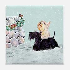 Scotties and Wren Winter Tile Coaster