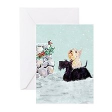 Scotties and Wren Winter Greeting Cards (Pk of 20)