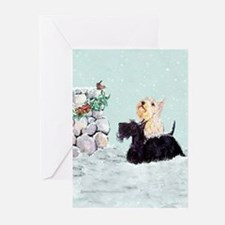 Scotties and Wren Winter Greeting Cards (Pk of 10)