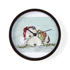 Fox Terrier Christmas Wall Clock