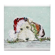 Fox Terrier Christmas Tile Coaster